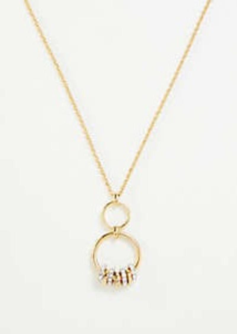 Ann Taylor Pave Rondelle Pendant Necklace