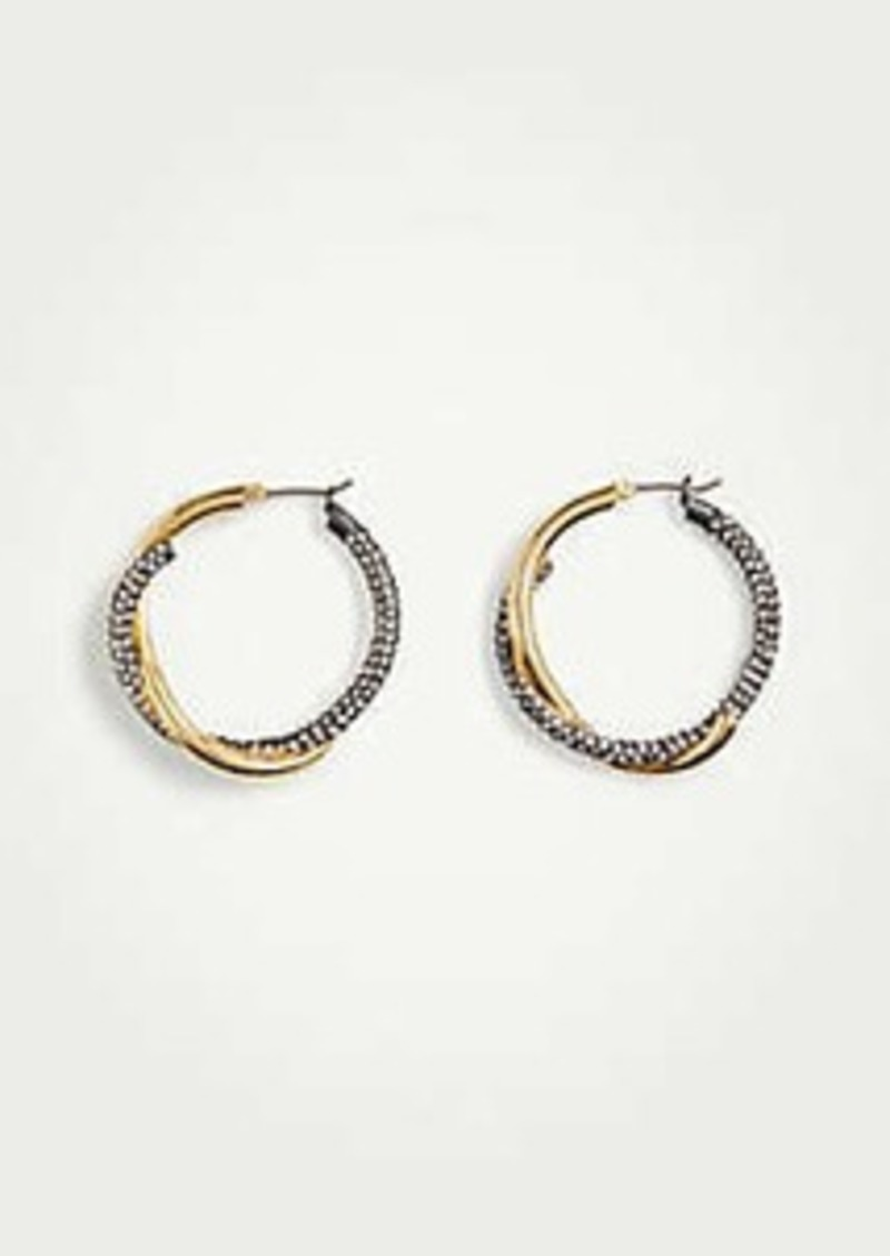 Ann Taylor Pave Twisted Metal Hoops