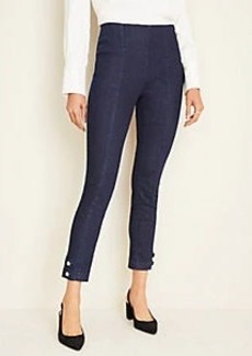 Ann Taylor Pearlized Button Hem Skinny Jeans in Dark Rinse Wash