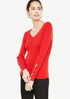 Pearlized Button Slit Cuff Sweater