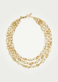 Ann Taylor Pearlized Chain Tiered Necklace