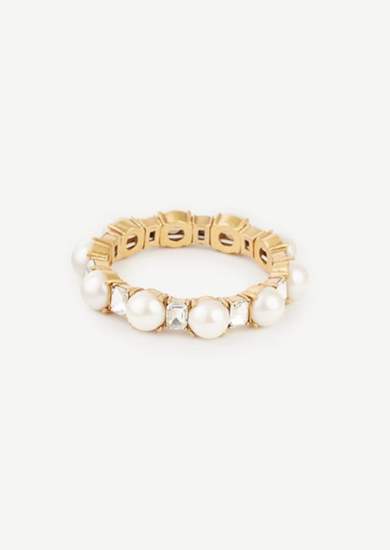 Ann Taylor Pearlized Crystal Stretch Bracelet