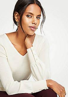 Ann Taylor Pearlized Cuff V-Neck Sweater
