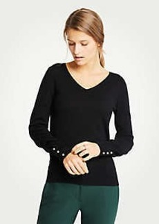 Ann Taylor Pearlized Cuff V-Neck Sweater
