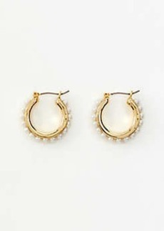 Ann Taylor Pearlized Link Hoop Earrings