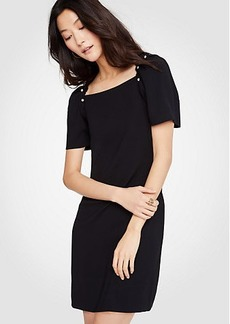 Pearlized Puff Sleeve Shift Dress