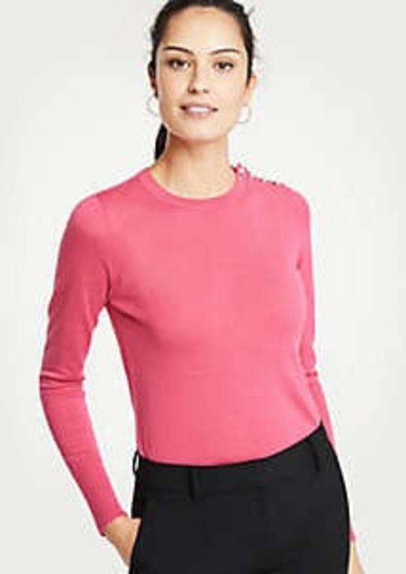Ann Taylor Pearlized Shoulder Crew Neck Pullover