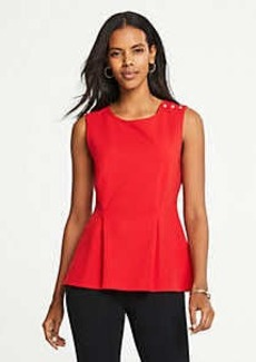 Ann Taylor Pearlized Shoulder Peplum Top