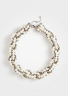 Ann Taylor Pearlized Tweed Statement Necklace