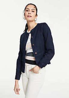 Ann Taylor Performance Stretch Denim Peplum Jacket