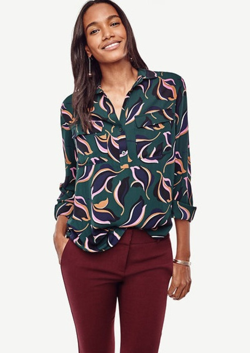 Ann Taylor Petite Abstract Tulip Popover Camp Shirt