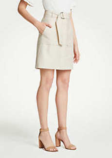 Ann Taylor Petite Belted A-Line Skirt