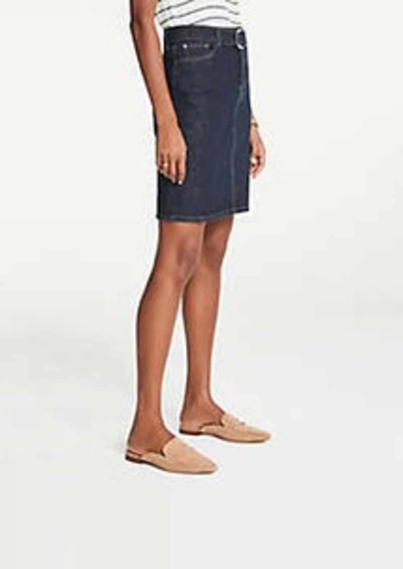 Ann Taylor Petite Belted Denim Skirt