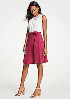 Ann Taylor Petite Belted Flare Skirt