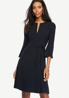 Petite Belted Fluted Sleeve Dress