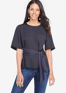 Petite Belted Mixed Media Top