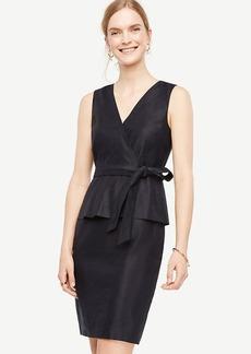 Petite Belted Peplum Sheath Dress