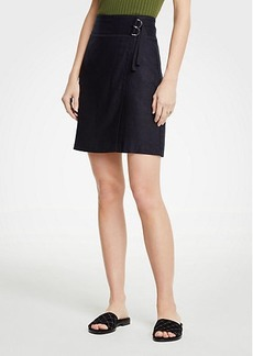 Ann Taylor Petite Belted Twill Skirt