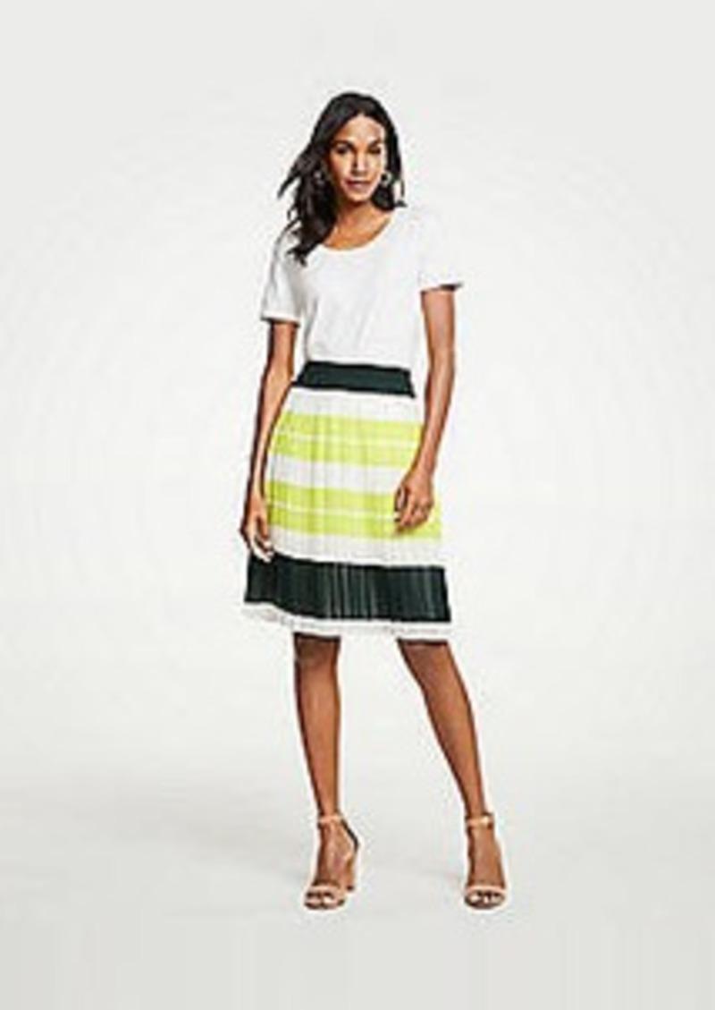 Ann Taylor Petite Bold Stripe Pleated Skirt