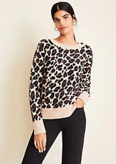 Ann Taylor Petite Brushed Leopard Print Shoulder Button Sweater