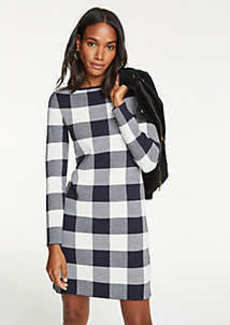 Ann Taylor Petite Buffalo Plaid Sweater Dress