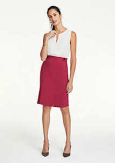 Ann Taylor Petite Button Tab Seamed Pencil Skirt