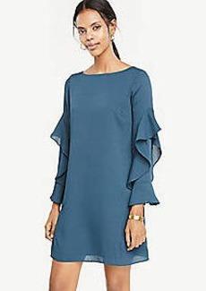Ann Taylor Petite Cascading Ruffle Sleeve Shift Dress