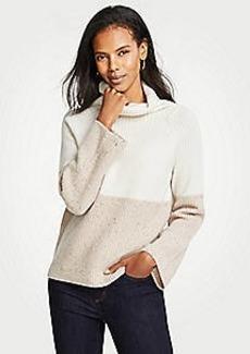 Ann Taylor Petite Cashmere Colorblock Ribbed Turtleneck Sweater