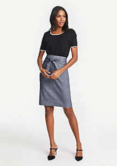 Ann Taylor Petite Chambray Tie Waist Pencil Skirt