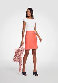 Ann Taylor Petite Chambray Wrap A-Line Skirt