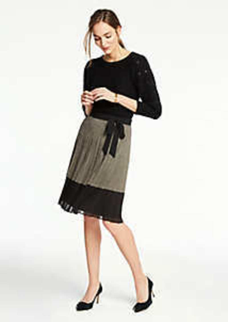 Ann Taylor Petite Plaid Tie Waist Pleated Skirt