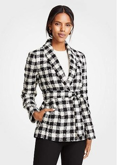 Ann Taylor Petite Checked Belted Jacket