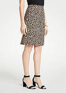 Ann Taylor Petite Cheetah Dot Flounce Back Pencil Skirt