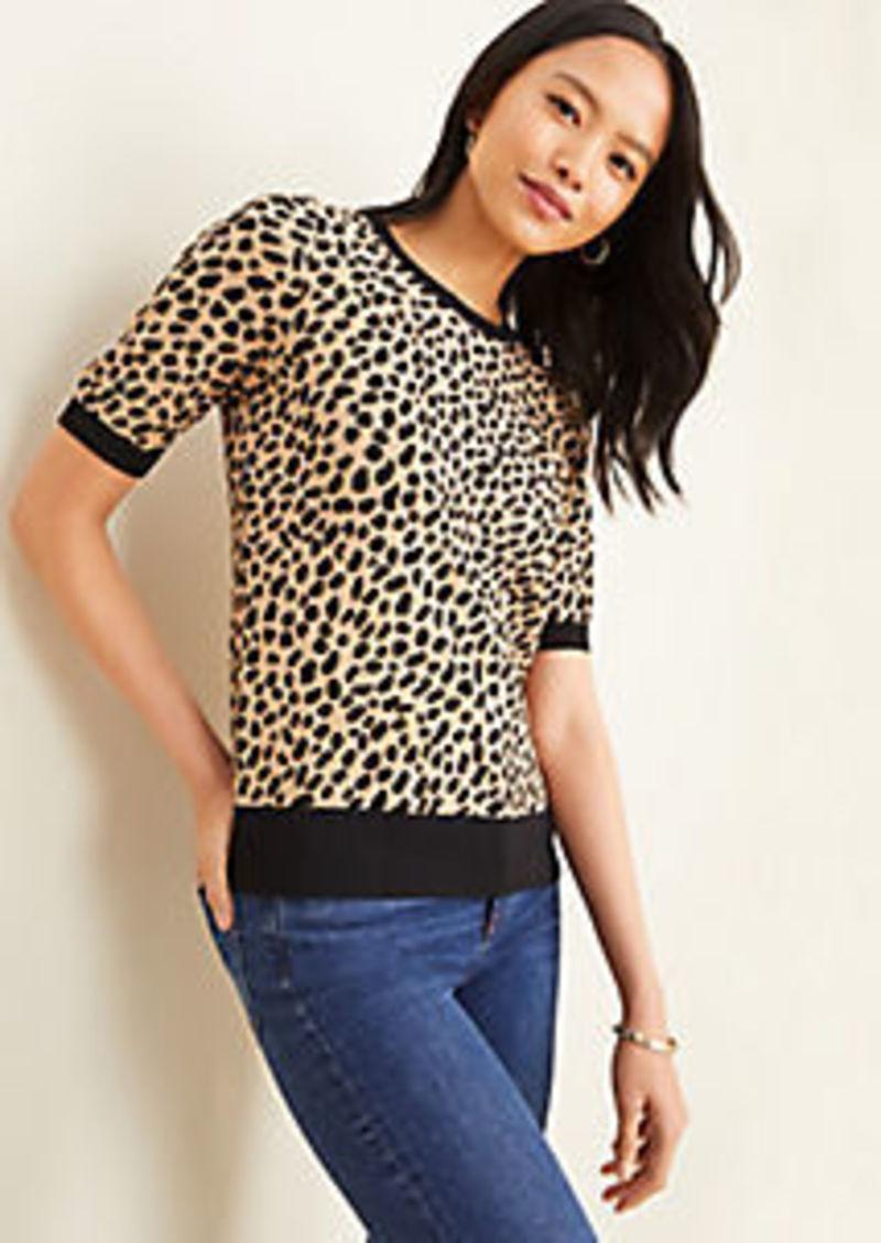 Ann Taylor Petite Cheetah Print Seasonless Yarn Sweater Tee