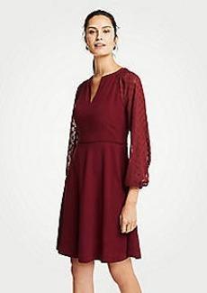 Ann Taylor Petite Chiffon Dot Sleeve Flare Dress