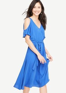 Petite Cold Shoulder Belted Dress
