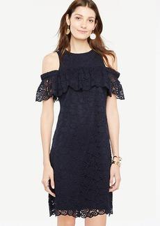 Petite Cold Shoulder Lace Shift Dress