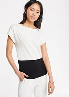Ann Taylor Petite Colorblock Cap Sleeve Sweater Tee