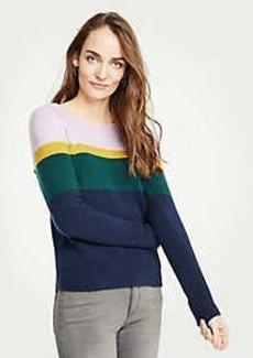 Ann Taylor Petite Colorblock Crew Neck Pullover