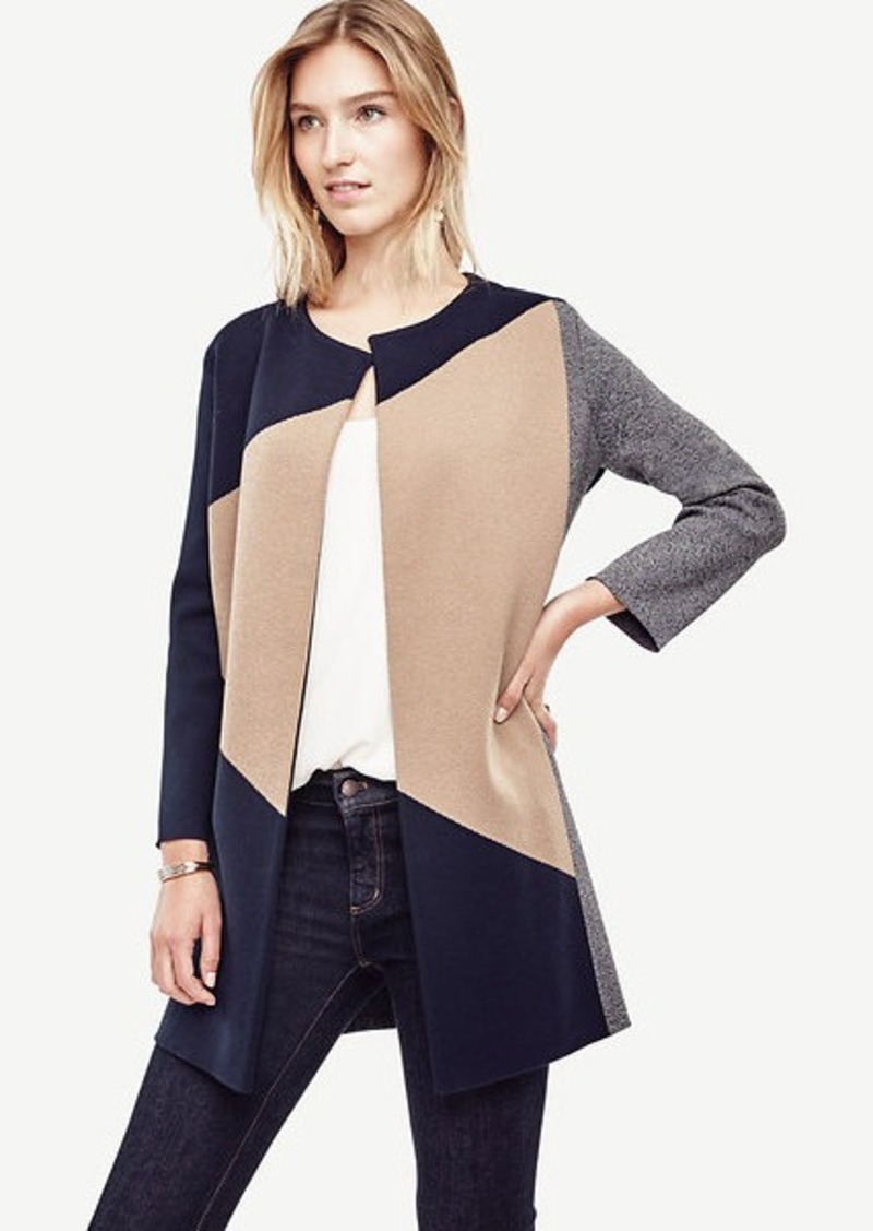 Ann Taylor Petite Colorblock Open Sweater Coat | Sweaters - Shop ...