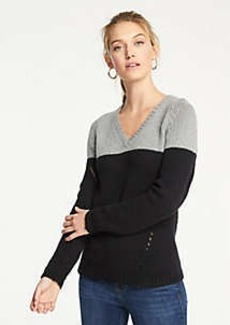 Ann Taylor Petite Colorblock Pointelle V-Neck Sweater