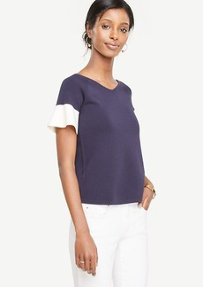 Ann Taylor Petite Colorblock Ruffle Sleeve Double V Sweater