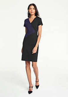 Ann Taylor Petite Colorblock V-Neck Ponte Sheath Dress