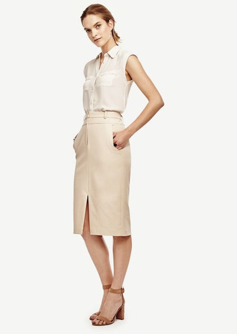 Ann Taylor Petite Compact Twill Pencil Skirt