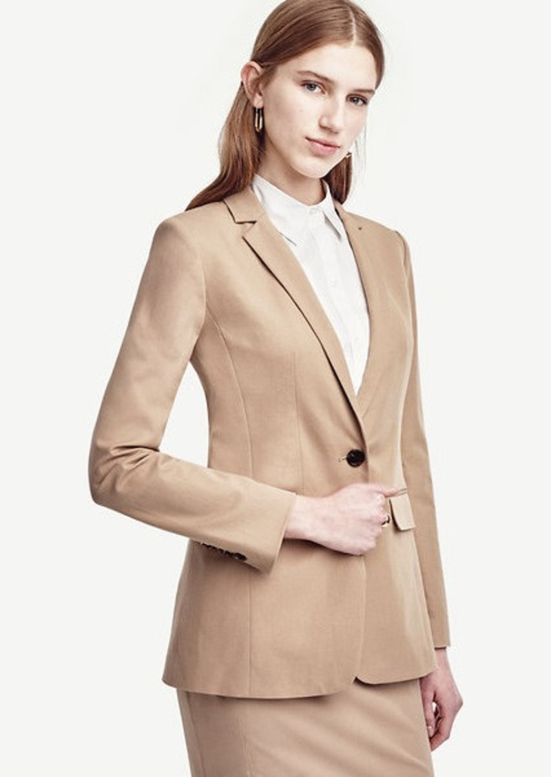 Ann Taylor Petite Cotton Blend One Button Jacket