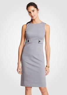Ann Taylor Petite Cotton Sateen Button Tab Sheath Dress