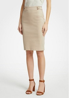 Ann Taylor Petite Cotton Sateen Button Tab Skirt