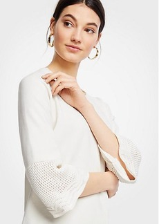 Ann Taylor Petite Crochet Yoke Sweater