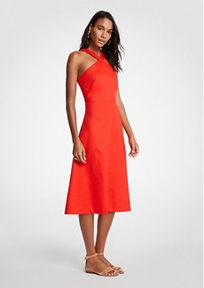Ann Taylor Petite Cross Neck Halter Midi Dress