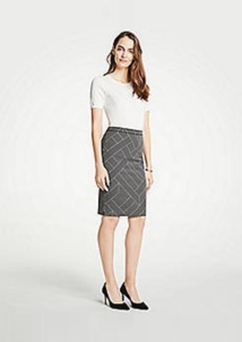 Ann Taylor Petite Cross Stripe Pencil Skirt